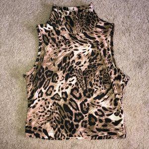 Tops - Cheeta, turtleneck sleeveless shirt